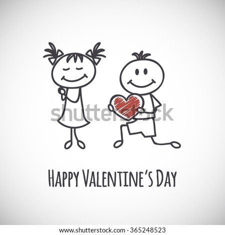 boy and girl (cartoon doodle). Happy Valentine's day card
