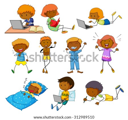 Boy and girl doing different activities - stock vector