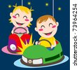 Boy and girl driving bumper cars having fun colliding - stock photo