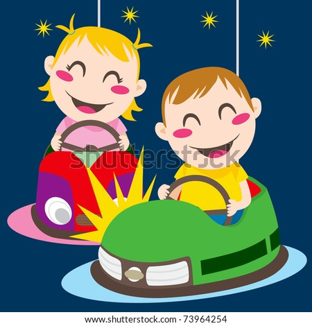 Boy and girl driving bumper cars having fun colliding