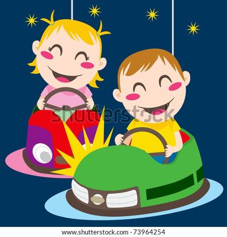 Boy and girl driving bumper cars having fun colliding - stock vector