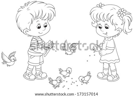 Boy and girl feed birds - stock vector