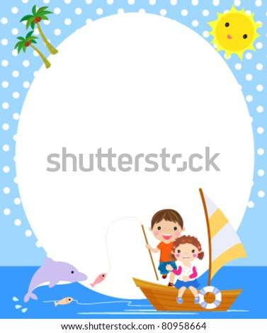 boy and girl fishing,summer - stock vector