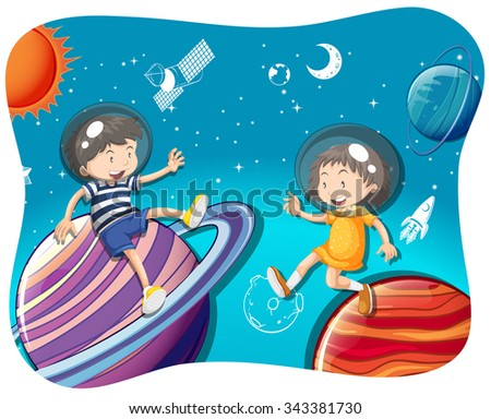 Boy and girl floating in the space illustration