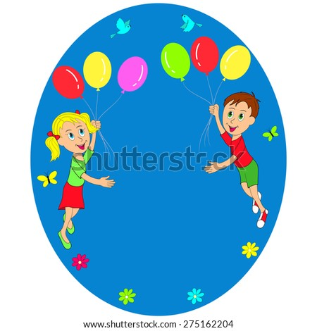 boy and girl flying in balloons, illustration, vector - stock vector