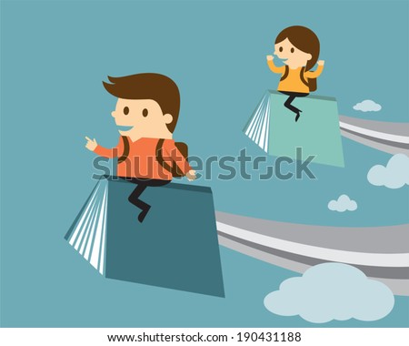 Boy and girl  flying on book, Education concept - stock vector