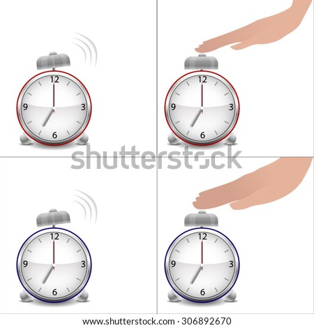 Boy and girl hands and stopped alarm clock - stock vector
