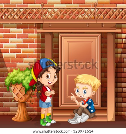 Boy and girl hanging out in front of the house illustration