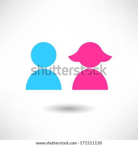 Boy and girl icon - stock vector