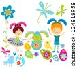 boy and girl in bunny costume painting the easter eggs - stock vector