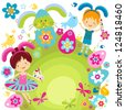 boy and girl in bunny costume ready to ornate the easter eggs - stock vector