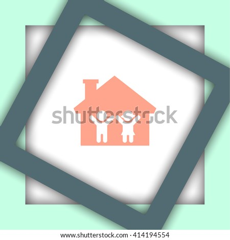 Boy and Girl in House vector icon