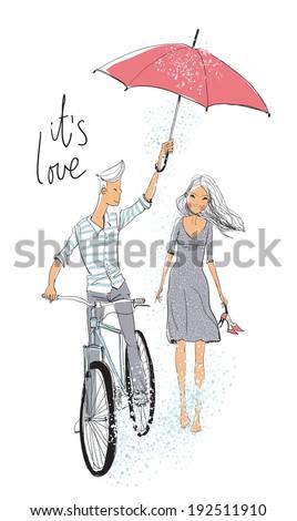 Boy and girl in love under rain - stock vector
