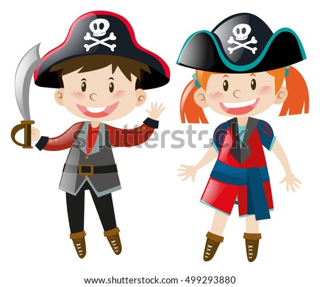 Boy and girl in pirate costume illustration