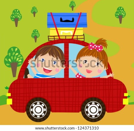 boy and girl in red car - stock vector