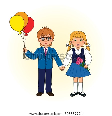 Boy and girl in school uniform with balloons and flowers in hand on isolated background, vector cartoon - stock vector