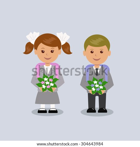 Boy and girl in school uniform with school bags on a light background. - stock vector