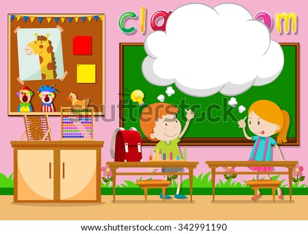 Boy and girl in the classroom illustration - stock vector