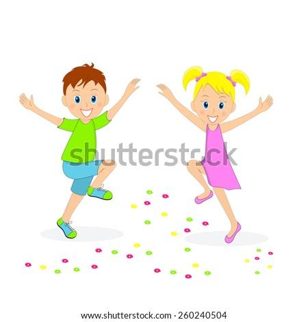 boy and girl joyfully bouncing, illustration, vector - stock vector
