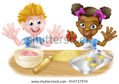 Boy and girl kids, one black one white playing cooking baking cakes, cookies and desserts - stock vector
