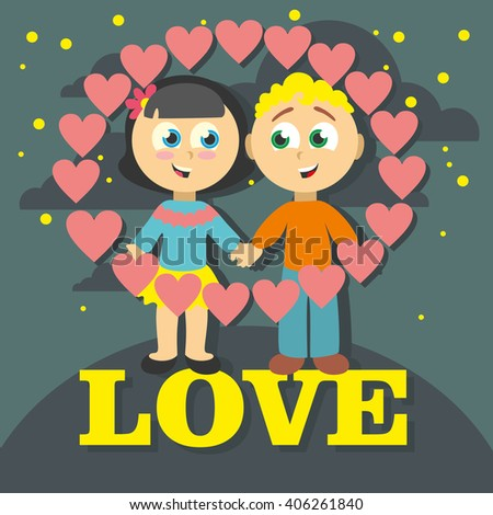 Boy and girl. Love cards. Vector Illustration