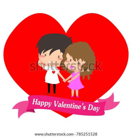 Boy And Girl Love For Valentineu0027s Day. Happy Valentineu0027s Day And Love On  Isolate Background