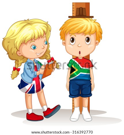 Boy and girl measure the height illustration - stock vector
