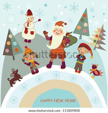 boy and girl meet Santa Claus - stock vector
