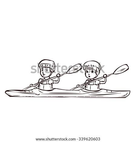 Boy And Girl On A Kayak Hand Drawn Cartoon Vector Illustration