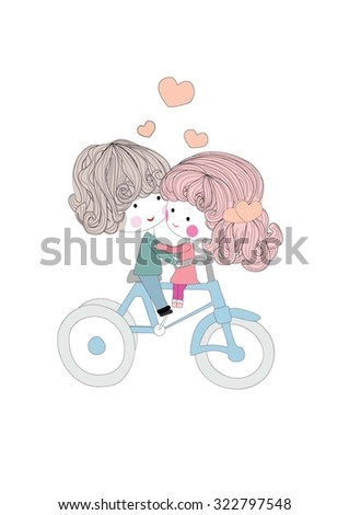 boy and girl on bicycle,vector illustration