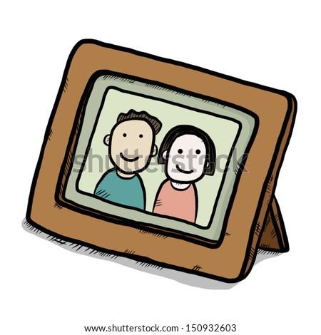 Boy Girl Picture Wooden Frame Cartoon Vector de stock150932603 ...