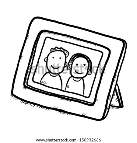 Boy And Girl Picture In Wooden Frame Cartoon Vector Illustration Isolated On White