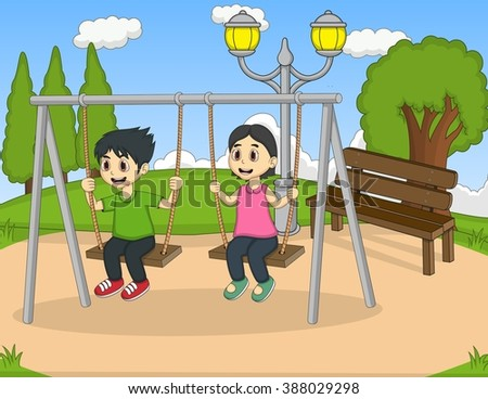 Boy and girl play swing at the yard cartoon vector illustration