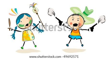 Boy and girl playing - stock vector