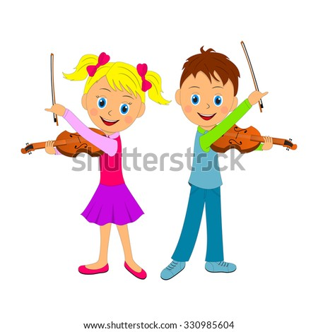 boy and girl playing the violin, illustration, vector