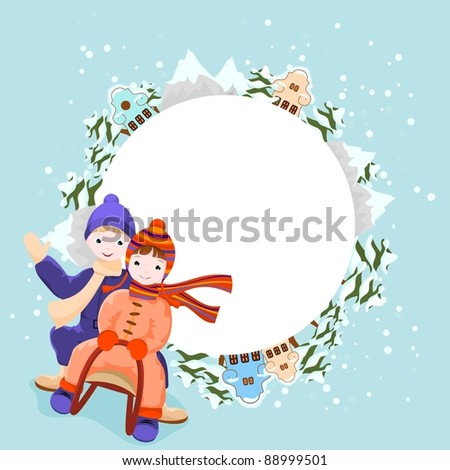 boy and girl  ride in a sleigh, winter background with snow, trees, mountains and houses - stock vector