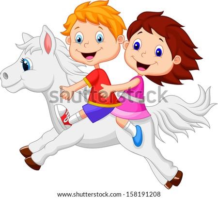 Boy and girl riding a white horse - stock vector