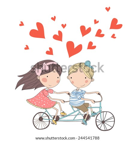 Boy and girl riding tandem bicycle. Cute cartoon vector illustration - stock vector