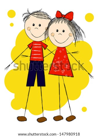 Boy and girl - romantic couple - stock vector