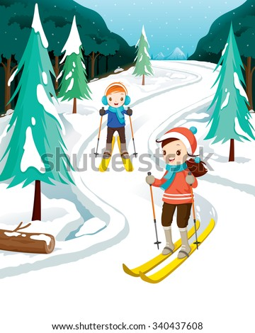 Boy And Girl Skiing, Activity, Travel, Winter, Season, Vacation, holiday, Nature, Object