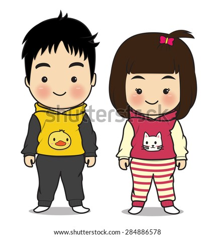 boy and girl so cute on white background
