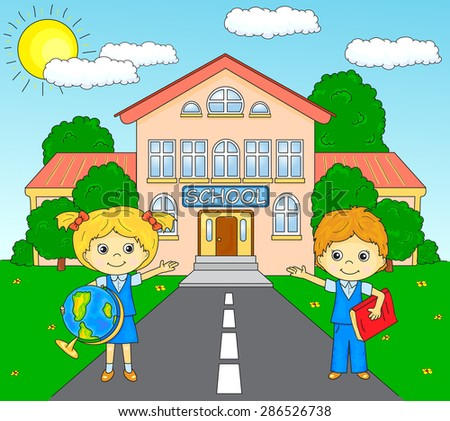 Boy and girl standing near the school building in a schoolyard. Vector illustration for children. Coloring book - stock vector