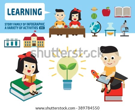 boy and girl studying together.infographic elements.flat cute cartoon design illustration. - stock vector