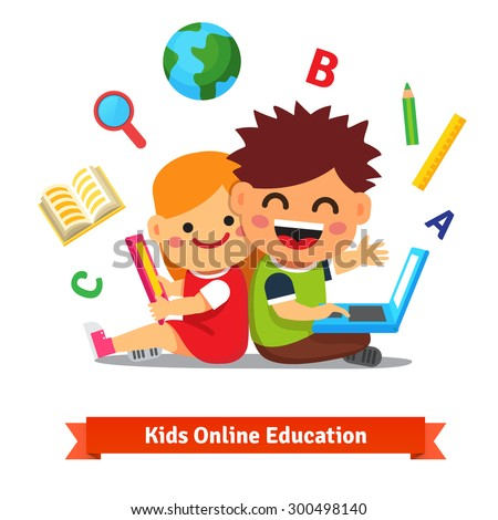 Boy and girl studying together with tablet computer and laptop. Modern remote education concept. Flat style vector illustration isolated on white background. - stock vector