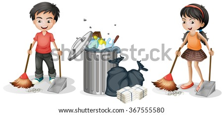 Boy and girl sweeping the floor illustration - stock vector