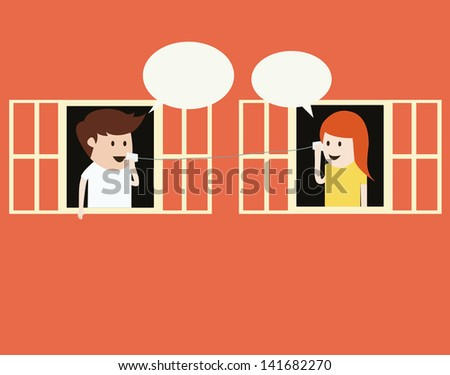 boy and girl talking on cup telephone vector - stock vector