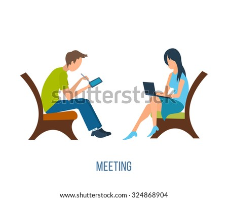 Boy and girl talking on the internet. Online communication concept. Meeting love couple - stock vector