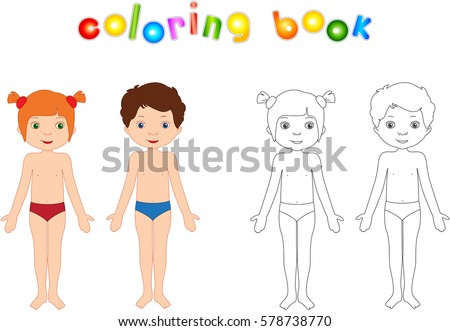 Boy And Girl Unclothed Educational Coloring Book For Kids Body Parts Anatomy