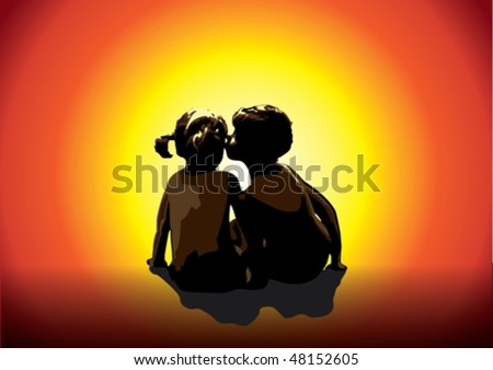 Boy and girl watching as the sun disappears behind the horizon - stock vector