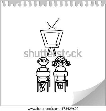 Boy and girl watching TV (cartoon doodle) - stock vector
